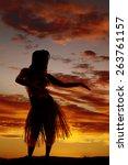 a silhouette of a hawaiian... | Shutterstock . vector #263761157