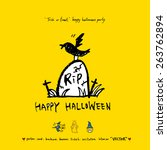 hand drawn halloween poster  ... | Shutterstock .eps vector #263762894