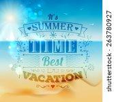 vintage typography summer... | Shutterstock .eps vector #263780927