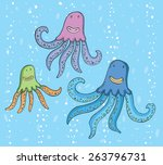 three octopuses with hairstyles.... | Shutterstock .eps vector #263796731