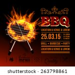 barbecue grill party. vector... | Shutterstock .eps vector #263798861