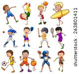 children playing different... | Shutterstock .eps vector #263801411