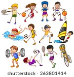 set of children playing... | Shutterstock .eps vector #263801414