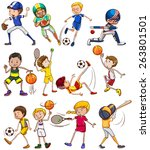 set of children playing... | Shutterstock .eps vector #263801501