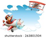 two flying jets on a white... | Shutterstock .eps vector #263801504