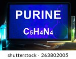 Small photo of Tablet with chemical formula of purine.
