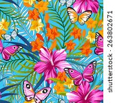 tropical seamless print with... | Shutterstock .eps vector #263802671