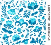 floral pattern with elements of ... | Shutterstock .eps vector #263805095