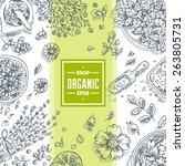 organic cosmetics frame.... | Shutterstock .eps vector #263805731