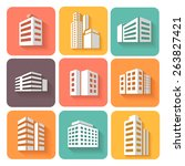 set of dimensional buildings... | Shutterstock . vector #263827421