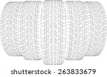 five wire frame tires. vector... | Shutterstock .eps vector #263833679