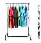 mobile rack with clothes on... | Shutterstock . vector #263834771