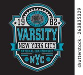 athletic sport nyc typography ... | Shutterstock .eps vector #263835329