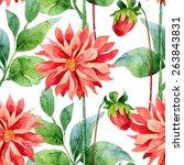 floral pattern. watercolor... | Shutterstock . vector #263843831