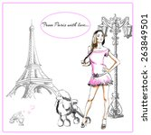 fashionable girl in a pink... | Shutterstock .eps vector #263849501