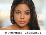portrait of beautiful young... | Shutterstock . vector #263860571