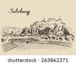salzburg skyline  austria  ... | Shutterstock .eps vector #263862371