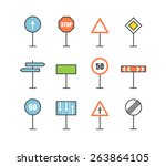 different road sign icons... | Shutterstock .eps vector #263864105