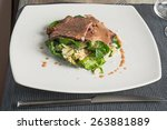 white dish with beef salad and... | Shutterstock . vector #263881889