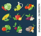 healthy food icons set in flat... | Shutterstock .eps vector #263883374