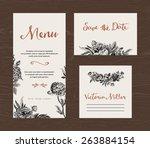 wedding set. menu  save the... | Shutterstock .eps vector #263884154
