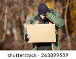 Homeless Man Holds Blank...