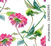 floral pattern. watercolor... | Shutterstock . vector #263902595