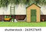 Garden With Gardening  Tools...