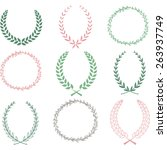 hand drawn laurel wreaths... | Shutterstock .eps vector #263937749