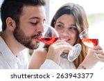 close up portrait of couple... | Shutterstock . vector #263943377