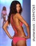 miami  fl   july 19  a model...   Shutterstock . vector #263947265