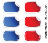 sticker blue and red vector... | Shutterstock .eps vector #263953004