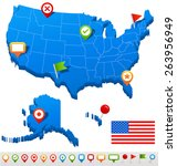 united states map vector... | Shutterstock .eps vector #263956949