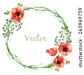 watercolor  vector  wreath ... | Shutterstock .eps vector #263969759