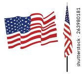 waving american flag and flag... | Shutterstock .eps vector #263980181