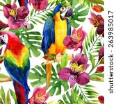 watercolor parrots on a floral...   Shutterstock . vector #263985017