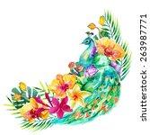 watercolor peacock in flowers....   Shutterstock . vector #263987771