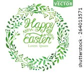 happy easter watercolor wreath ... | Shutterstock .eps vector #264013571