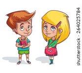 boy and girl. vector characters ...   Shutterstock .eps vector #264025784