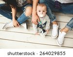 young hipster father  mother... | Shutterstock . vector #264029855