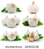 Set Of Garlic Fruits With Gree...