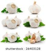 Set Of Garlic Fruits With Gree...