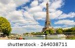 Eiffel Tower Over Seine River ...