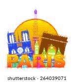 paris france city skyline... | Shutterstock . vector #264039071