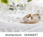 closeup of wedding rings and... | Shutterstock . vector #26406827
