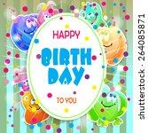 monster party card design.... | Shutterstock .eps vector #264085871