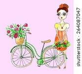vector watercolor bike with...   Shutterstock .eps vector #264087047