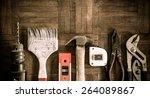 old   grunge set of hand tools... | Shutterstock . vector #264089867