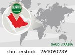 world map with magnified saudi... | Shutterstock .eps vector #264090239