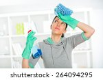 woman with sprayer and duster... | Shutterstock . vector #264094295